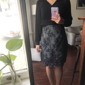 Zara high-waisted, lace-pattern skirt